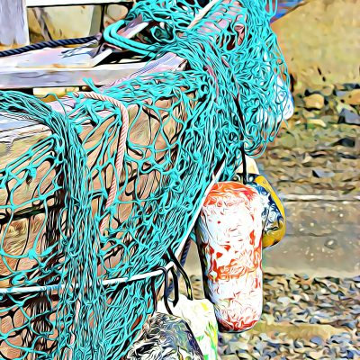 Fishing Boat with Green Net Photo Print