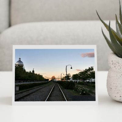 Railway Sunset Greeting Card